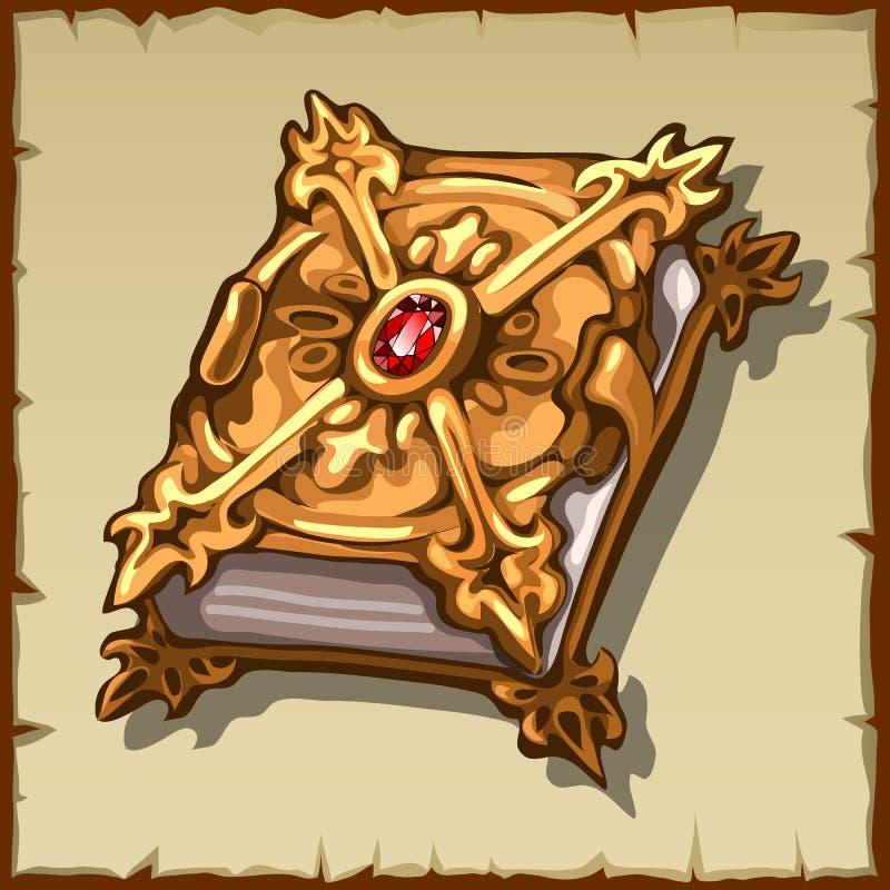 Oud magisch boek in een gouden dekking met robijnrode gem vector illustratie