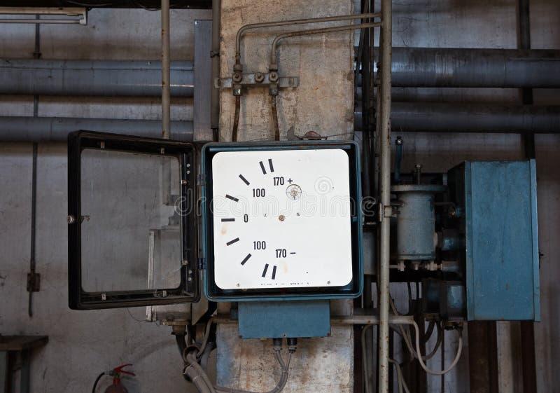 Oud meetinstrument in verlaten fabriek stock afbeeldingen