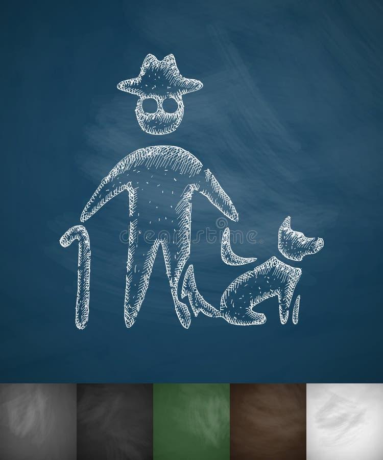 Oud mens en hondpictogram stock illustratie