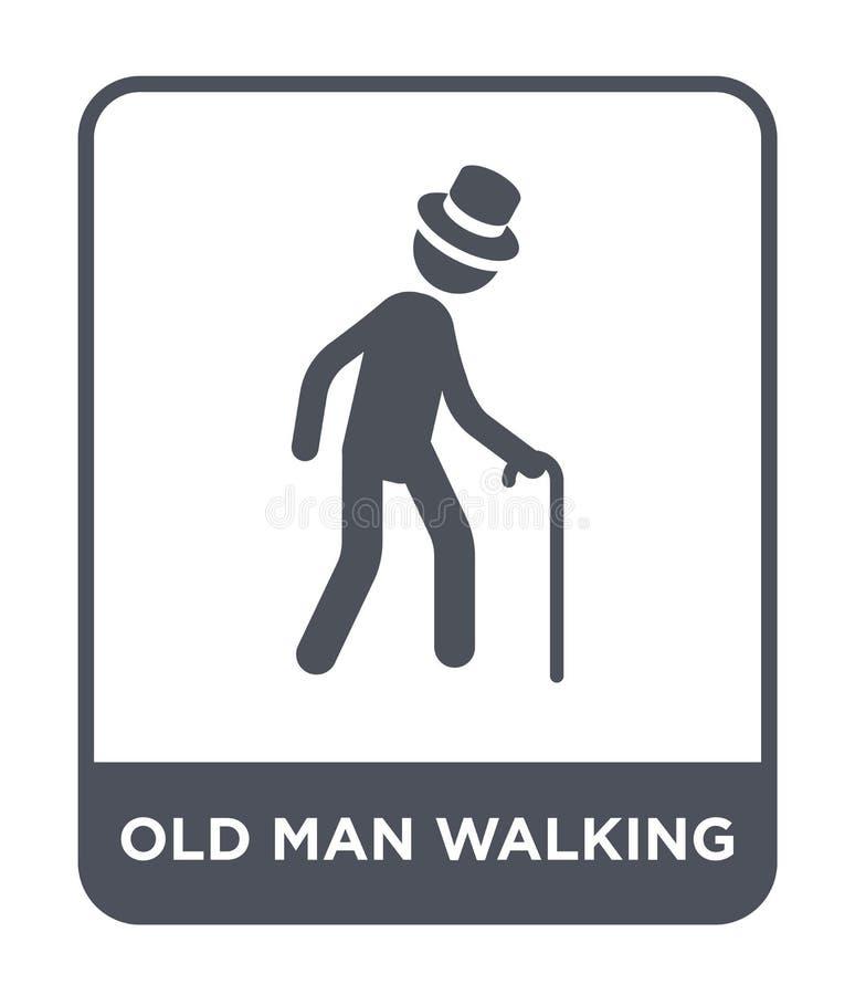 oud mens het lopen pictogram in in ontwerpstijl oud die mens het lopen pictogram op witte achtergrond wordt geïsoleerd oude mens  stock illustratie