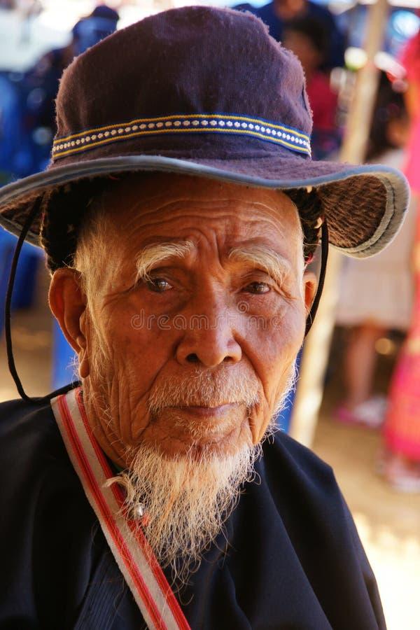 Oud mensen Chinees gezicht stock afbeeldingen