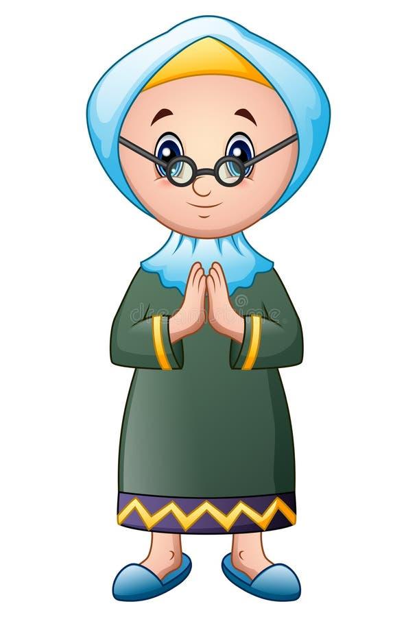 Oud moslimmeisjesbeeldverhaal royalty-vrije illustratie
