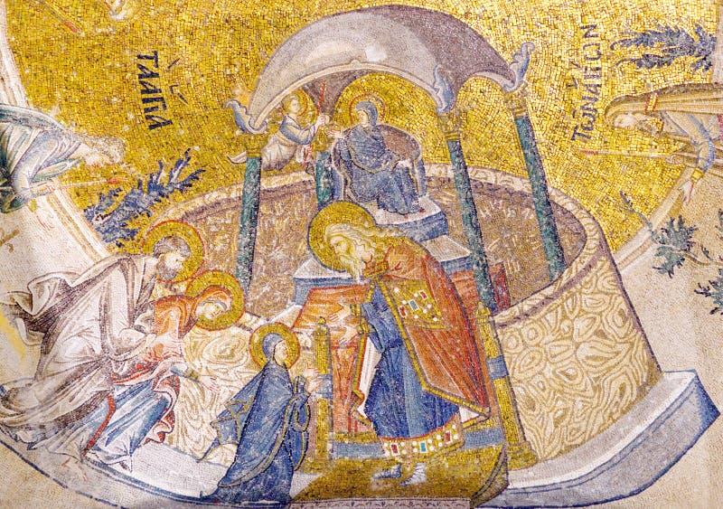Oud mozaïek in Chora-Kerk in Istanboel, Turkije stock fotografie