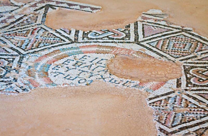 Oud mozaïek in Kourion, Cyprus stock afbeelding