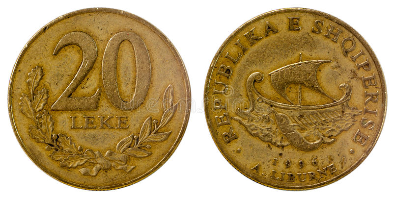 Oud muntstuk van Albanië stock afbeelding