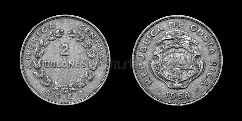 Oud muntstuk van Republiek van Costa Rica stock foto's