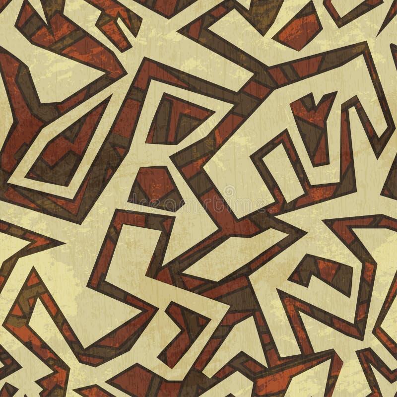 Oud naadloos patroon met grungeeffect stock illustratie