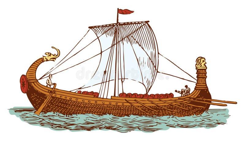 Oud Normandisch schip vector illustratie
