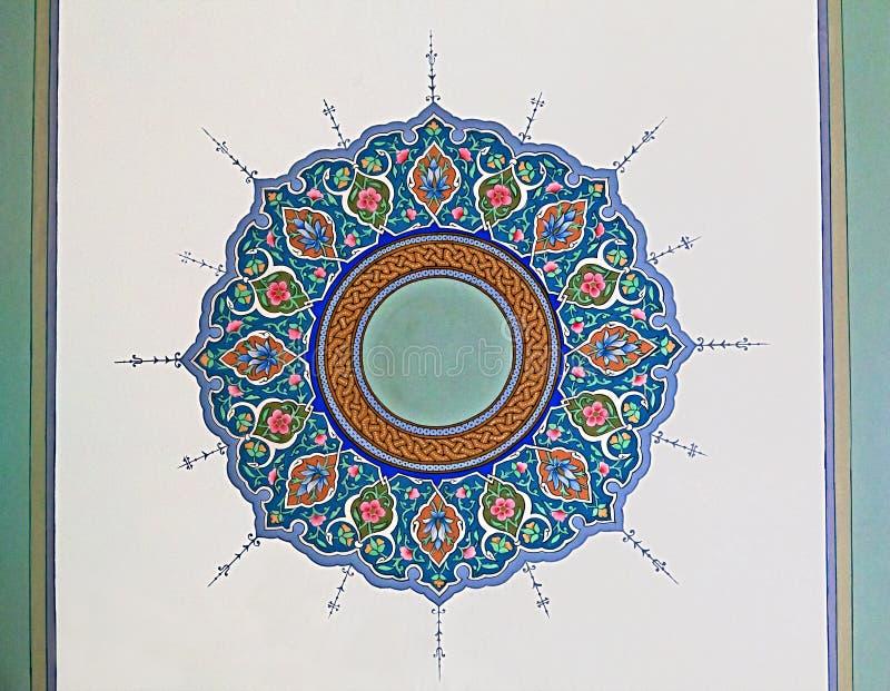 Oud Oostelijk ornament op het plafond, Oezbekistan royalty-vrije stock afbeelding
