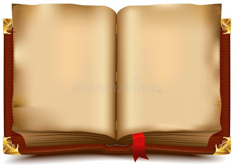 Oud open boek stock illustratie