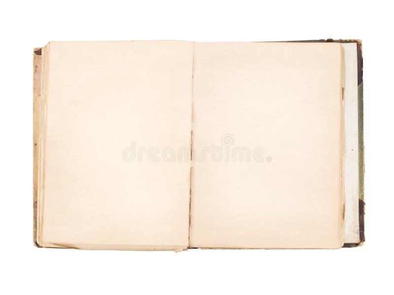 Oud open boek met geïsoleerdei blanco pagina's stock fotografie