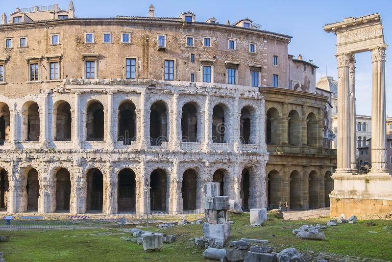 Oud openluchttheater van Marcellus in Rome, Italië stock afbeelding