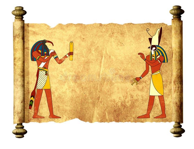 Oud perkament met Egyptische godenbeelden Toth en Horus royalty-vrije illustratie