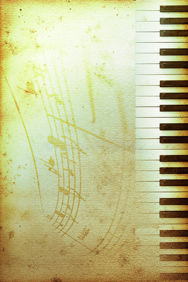 Oud pianodocument royalty-vrije illustratie