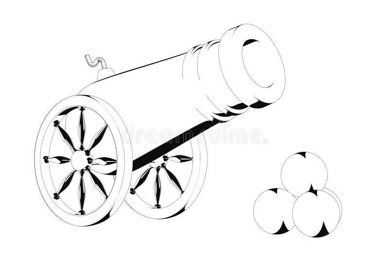 Oud Piraatkanon in Zwart-witte Beeldverhaalstijl het 3d teruggeven stock illustratie