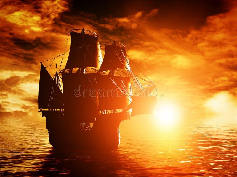 Oud piraatschip die op de oceaan bij zonsondergang varen stock afbeeldingen
