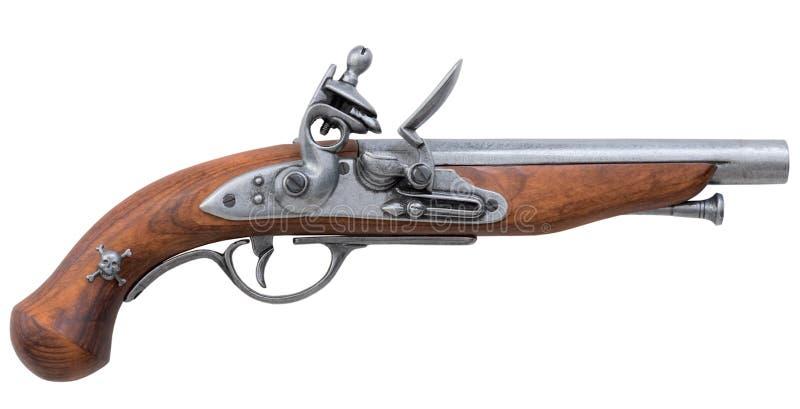 Oud pistool dat op wit wordt geïsoleerd royalty-vrije stock fotografie