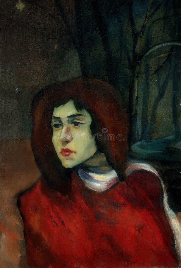 Oud portret van thegirl in nachtpark, het schilderen vector illustratie