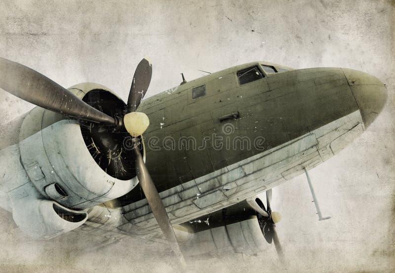 Oud propellervliegtuig stock foto