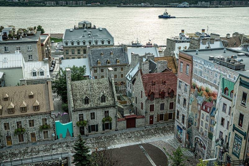 Oud Quebec vermindert Stad stock afbeelding