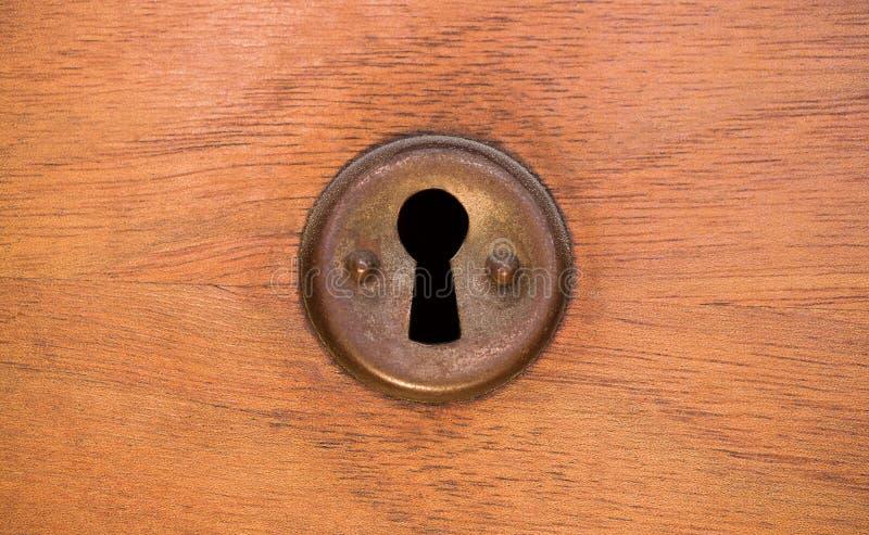Oud roestig en stoffig sleutelgatbehang Uitstekend sleutelgat op oude houten deurachtergrond Sleutelgat van oude deur royalty-vrije stock foto