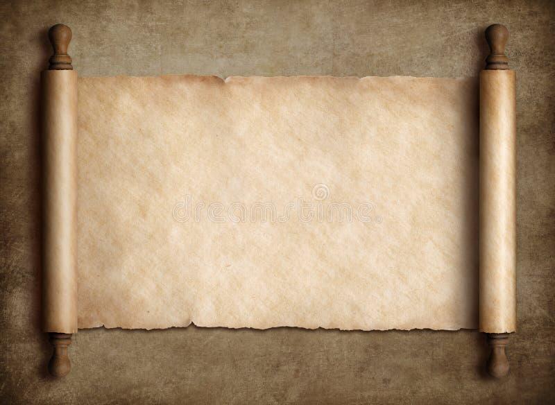Oud rolperkament over oude document achtergrond stock foto's