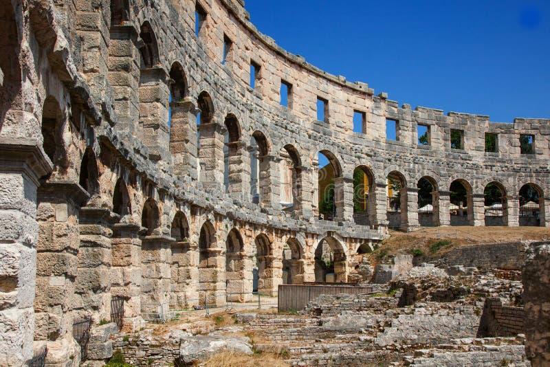 Oud Roman Amfitheater in Pula, Kroatië stock fotografie