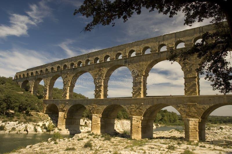 Oud Roman Aquaduct, Pont Du Gard, Frankrijk royalty-vrije stock afbeelding