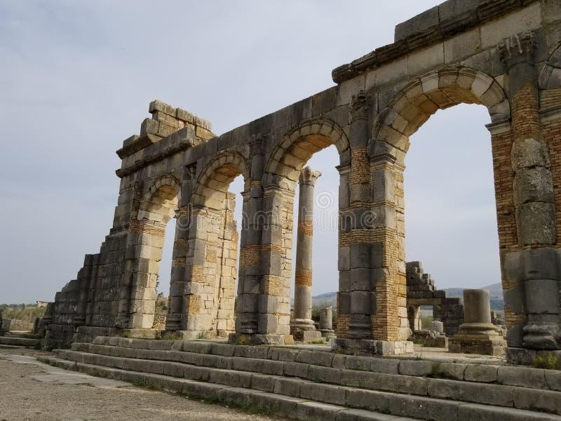 Oud Roman City Volubilis, Marokko royalty-vrije stock afbeelding