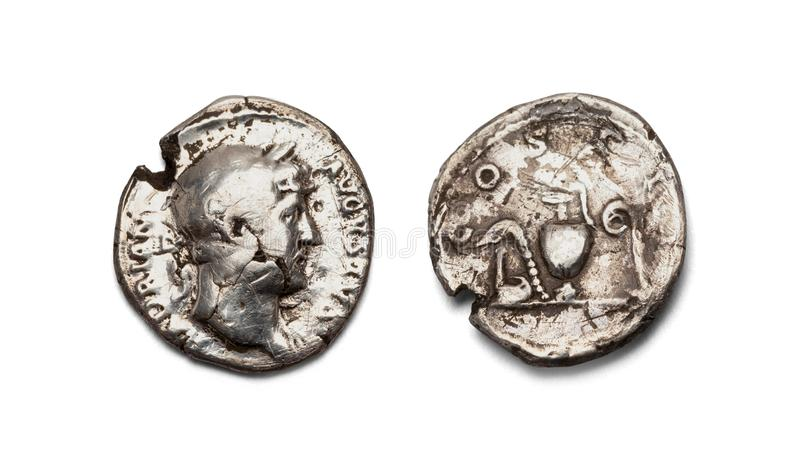 Oud roman muntstuk stock foto