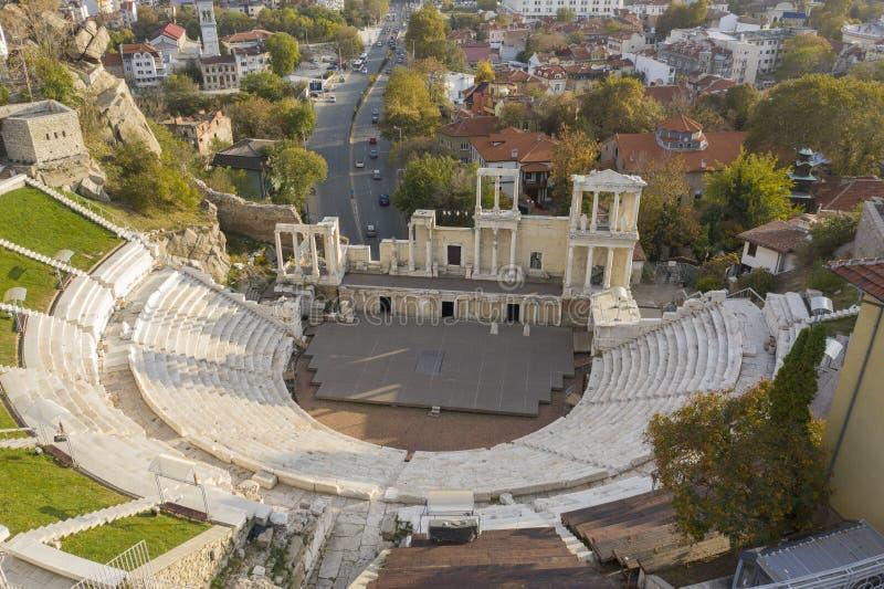 Oud Roman Theater in Plovdiv, Bulgarije, 23 Oktober 2018 stock foto's