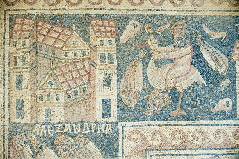 Oud Roman vloermozaïek bij de ruïnes van de Heilige Stevens Church bij een archeologische plaats in Umm AR-Rasas, Jordanië royalty-vrije stock foto's