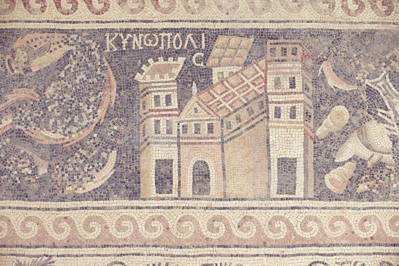 Oud Roman vloermozaïek in de Heilige Stevens Church bij een archeologische plaats in Umm AR-Rasas, Jordanië royalty-vrije stock foto's