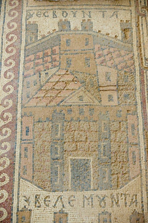 Oud Roman vloermoza?ek in de Heilige Stevens Church bij een archeologische plaats in Umm AR-Rasas, Jordani? stock foto's