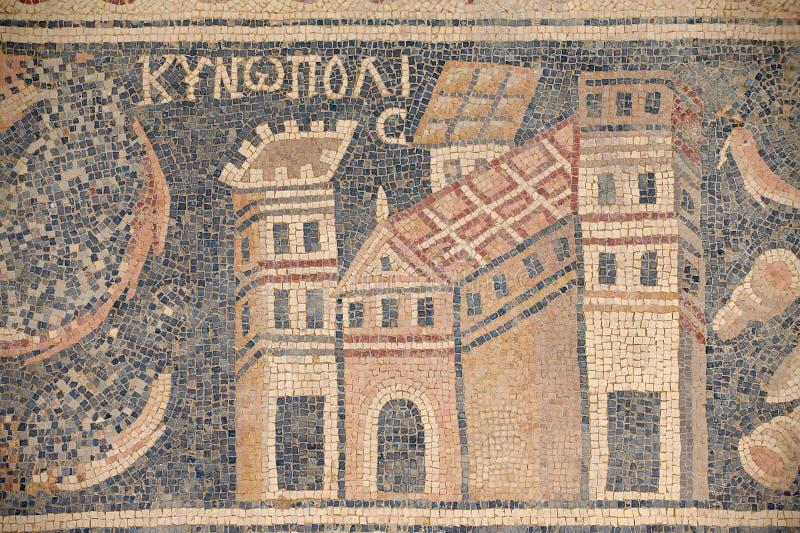Oud Roman vloermoza?ek in de Heilige Stevens Church bij een archeologische plaats in Umm AR-Rasas, Jordani? royalty-vrije stock afbeelding