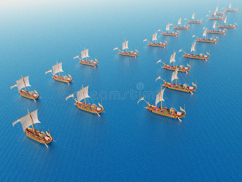 Oud Roman Warships royalty-vrije illustratie