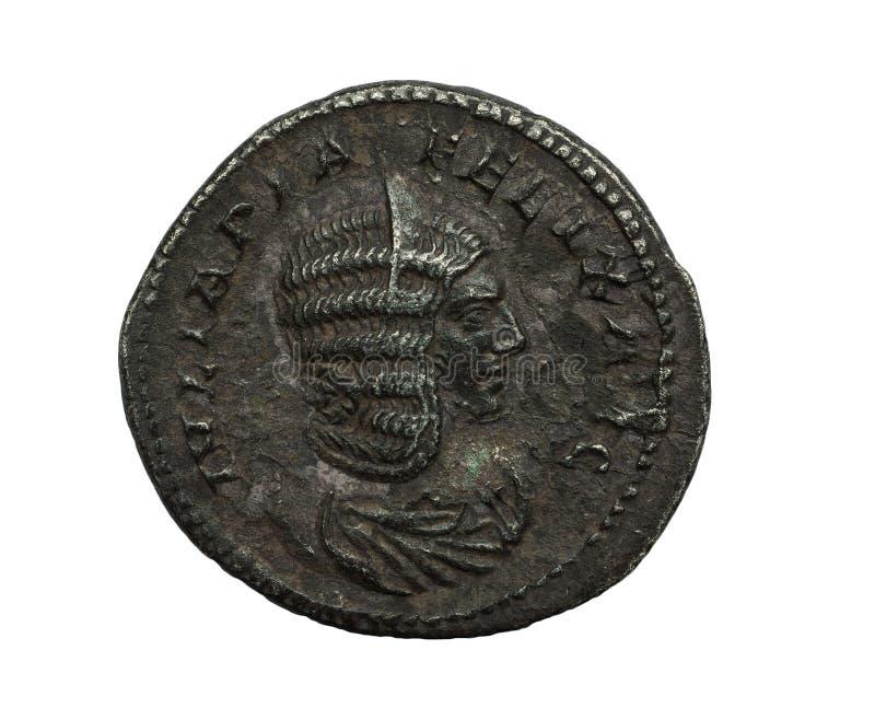 Oud roman zilveren muntstuk met vrouwelijk die portret op wit wordt geïsoleerd stock foto's