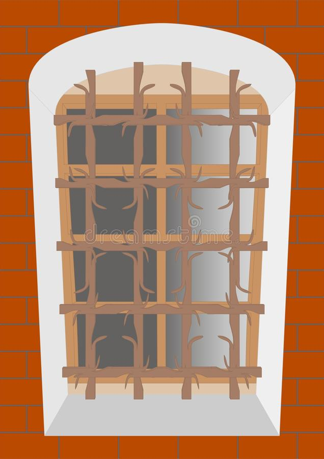 Oud rooster op een oud venster stock illustratie