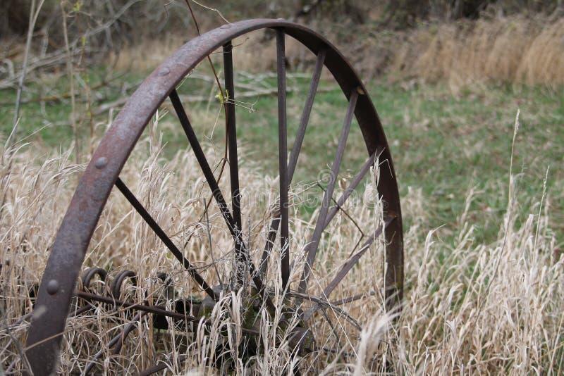 Oud Rusty Metal Wheel royalty-vrije stock foto's