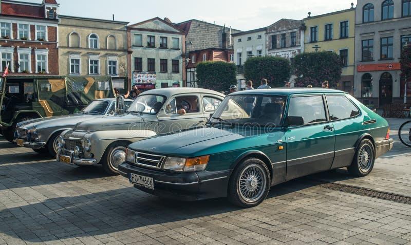 Oud Saab en Volvo vars royalty-vrije stock afbeelding