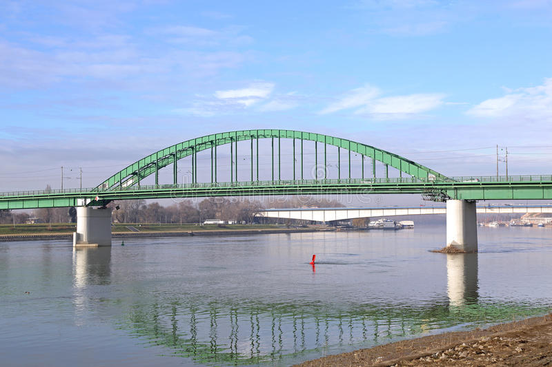 Oud Sava Bridge Belgrade stock foto