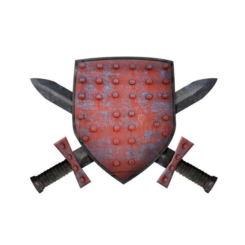 Oud schild en twee zwaarden stock foto