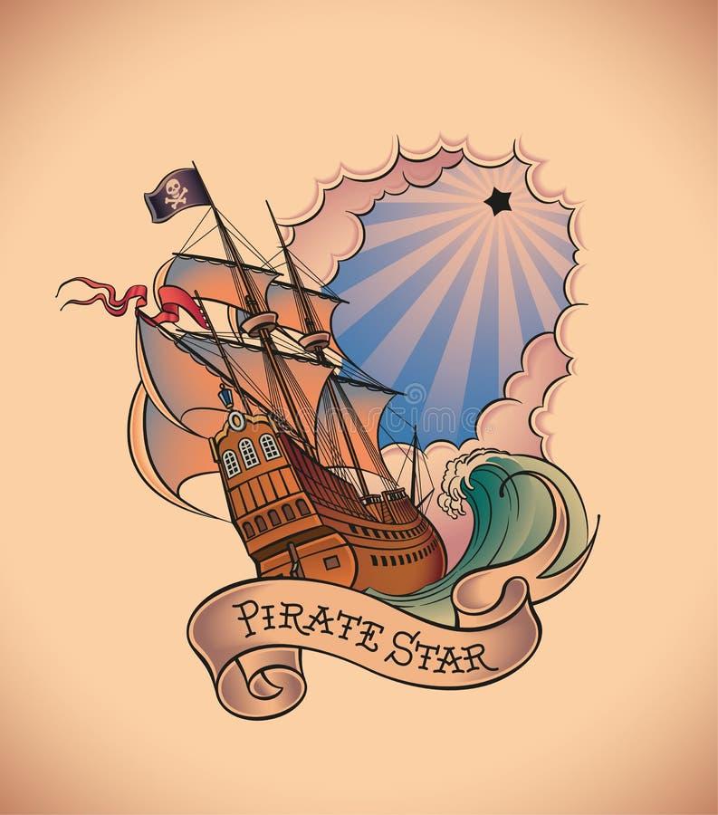Oud-schooltatoegering - Piraatster vector illustratie