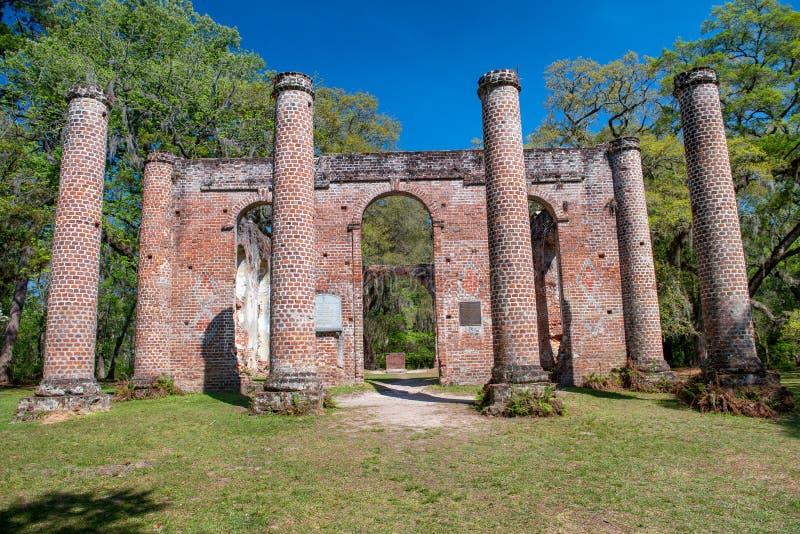 Oud Sheldon Church Ruins, Zuid-Carolina royalty-vrije stock afbeelding