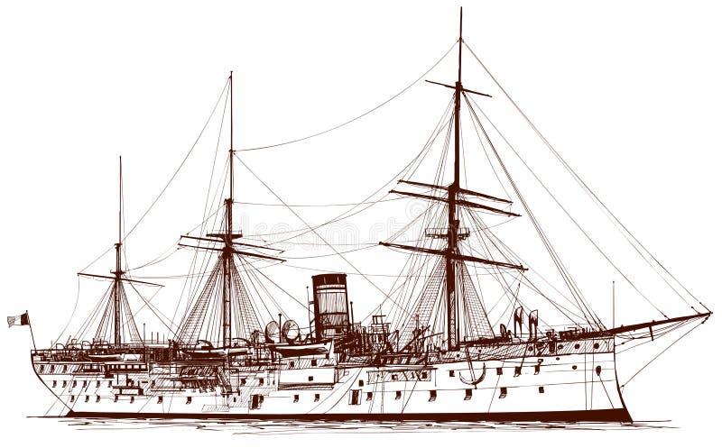 Oud slagschip royalty-vrije illustratie