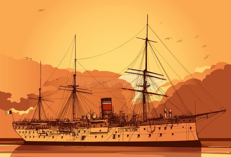 Oud slagschip vector illustratie