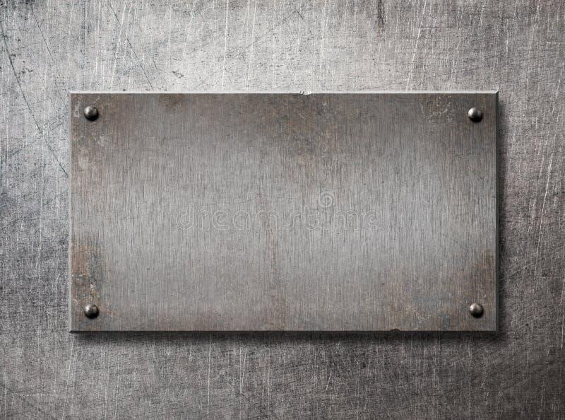 Oud staalkader op van de metaalmuur 3d illustratie als achtergrond royalty-vrije illustratie