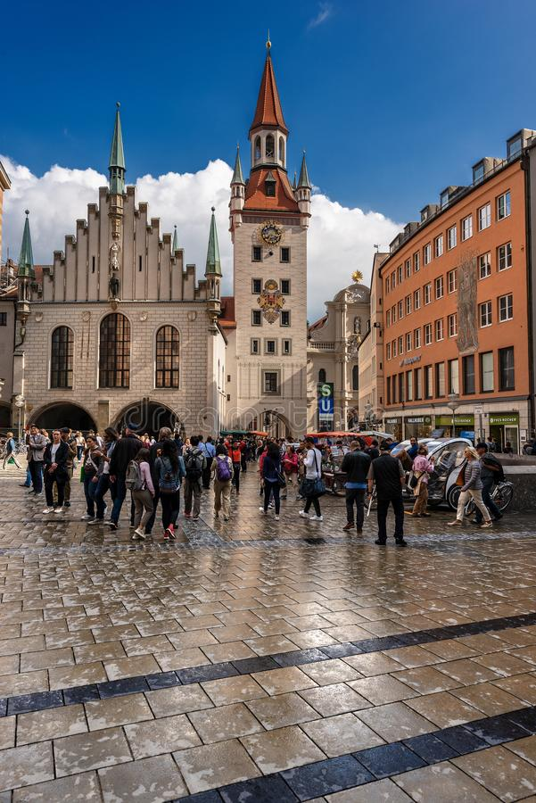 Oud Stadhuis - Altes Rathaus - Marienplatz München Duitsland royalty-vrije stock afbeelding