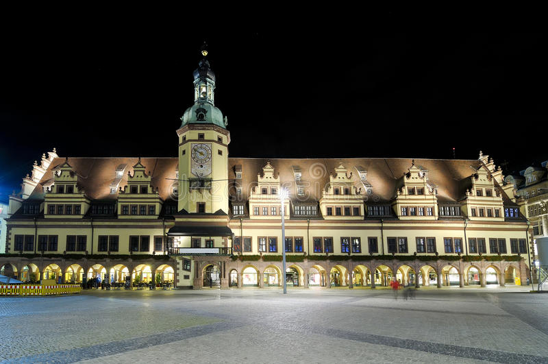 Oud stadhuis in Leizpig royalty-vrije stock afbeelding