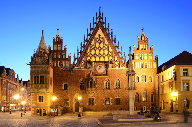 Oud stadhuis in wroclaw stock afbeelding